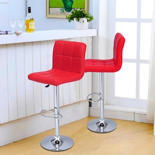Adeco Tufted Faux Leather, Adjustable Pedestal Base Bar Stool Chairs (Set of 2)