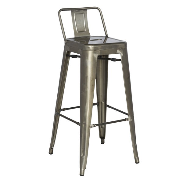 Somette Gun Metal Galvanized Steel Short Back Bar Stools Set Of 4