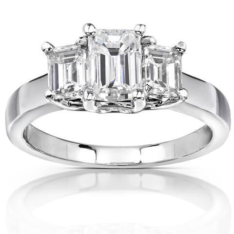Annello by Kobelli 14k White Gold 1 5/8ct Emerald-cut Moissanite Three-Stone Engagement Ring