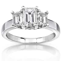 Annello by Kobelli 14k White Gold 1 5/8ct Emerald-cut Moissanite Three-Stone Engagement Ring