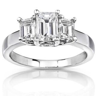 Annello by Kobelli 14k White Gold 1 5/8ct Emerald-cut Moissanite (HI) Three-Stone Engagement Ring