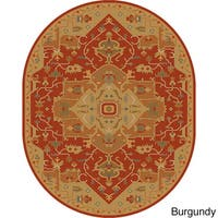 Hand-tufted Misty Traditional Oval Wool Area Rug (6' x 9')