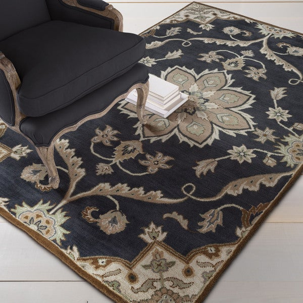 Hand-tufted Robyn Navy/Brown Wool Area Rug (10' x 14')