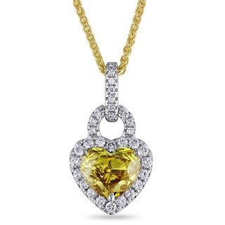 Miadora Signature Collection 14k Two-tone Gold 1 1/3ct TDW Yellow and White Diamond Necklace