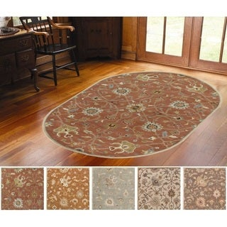 Hand-tufted Trey Traditional Wool Rug (6' x 9' Oval)