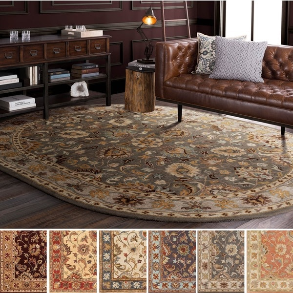 Hand Tufted Nia Traditional Wool Area Rug 6 X 9 Oval