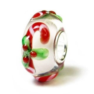 Queenberry Sterling Silver Candy Cane Glass Holiday European Charm