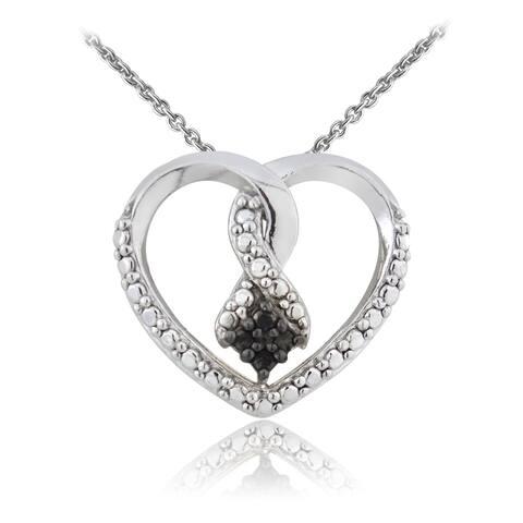 DB Designs Silvertone Black Diamond Heart Necklace