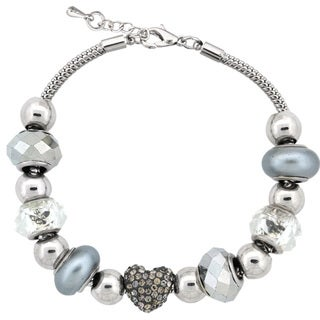 Glitzy Rocks Silvertone Crystal and Glass Bead Bracelet