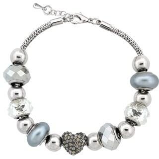 Glitzy Rocks Silvertone Crystal and Glass Bead Bracelet