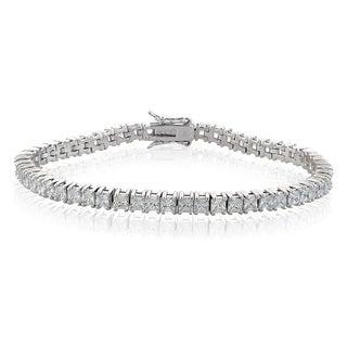 ICZ Stonez Silvertone 9 3/4ct TGW Cubic Zirconia Bracelet