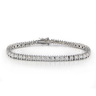 ICZ Stonez Silvertone 8 1/2ct TGW Cubic Zirconia Bracelet