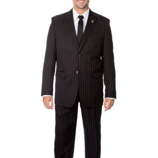 Stacy Adams Men's Black with Red Stripe 3-piece Vested Suit