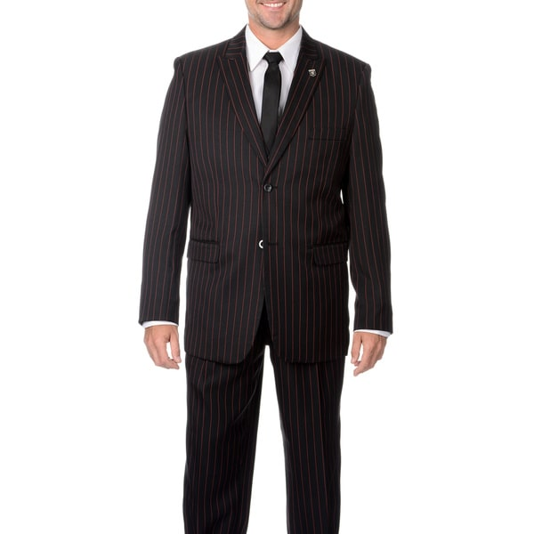 Stacy Adams Mens Black with Red Stripe 3-piece Vested Suit