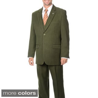 Stacy Adams Men's Double Vent 3-piece Vested Suit