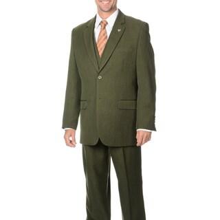 Stacy Adams Men's Double Vent 3-piece Vested Suit