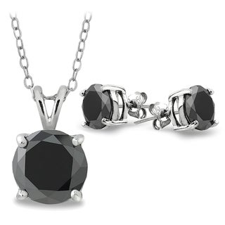 DB Designs Sterling Silver 3ct TDW Black Diamond Solitaire Stud Earrings and Necklace Set