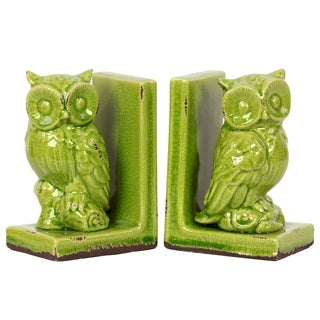 Yellow Green Stoneware Owl Bookend (Set of 2)