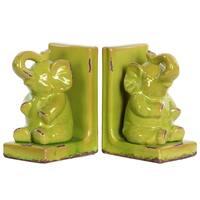 UTC11175-AST: Stoneware Sitting Trumpeting Elephant Figurine on Base Bookend Assortment of Two Gloss Finish Yellow Green