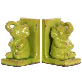 UTC11175-AST: Stoneware Sitting Trumpeting Elephant Figurine on Base Bookend Assortment of Two Gloss Finish Yellow Green