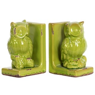 UTC11176-AST: Stoneware Owl Figurine Perched on a Tree Branch Bookend Assortment of Two Distressed Gloss Finish Yellow Lime