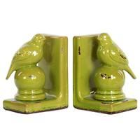 UTC11177-AST: Stoneware Bird Figurine on Spherical Pedstal Bookend Assortment of Two Distressed Gloss Finish Yellow Green