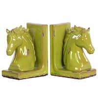 UTC11178-AST: Stoneware Horse Head on Base Bookend Assortment of Two Gloss Finish Yellow Green