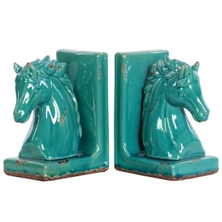 UTC11182-AST: Stoneware Horse Head on Base Bookend Assortment of Two Distressed Gloss Finish Turquoise