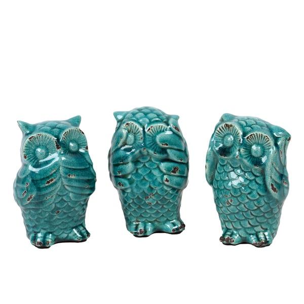 (Set of 3) Antique Turquoise Ceramic Owl