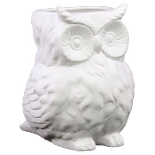 Matte White Porcelain Owl