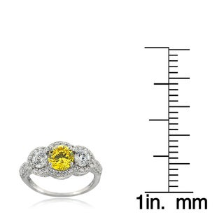 ICZ Stonez Sterling Silver 3ct TGW 100-facet Cubic Zirconia 3-stone Ring