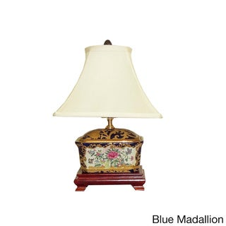 Porcelain Cover Box Lamp with Off-white Silk Shade