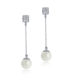 Glitzy Rocks Sterling Silver Cubic Zirconia and Faux Pearl Drop Earrings