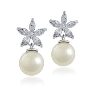 Glitzy Rocks Sterling Silver Cubic Zirconia and Faux Pearl Earrings