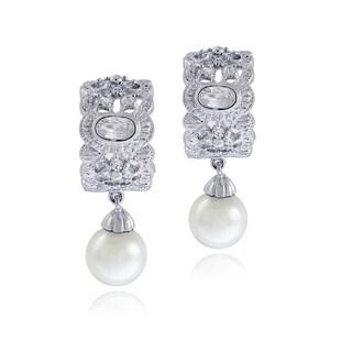 Glitzy Rocks Sterling Silver Cubic Zirconia and Faux Pearl Earrings