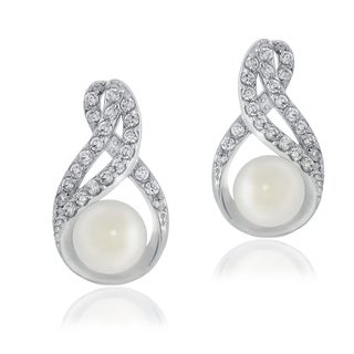 Glitzy Rocks Sterling Silver Cubic Zirconia and Faux Pearl Infinity Earrings