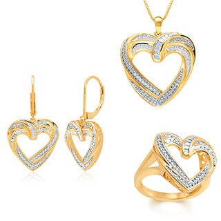 Divina Gold Over Brass 1/10ct TDW Diamond Heart Pendant 3-piece Set