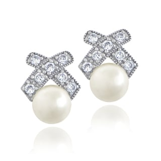 Glitzy Rocks Sterling Silver Cubic Zirconia and Faux Pearl Stud Earrings