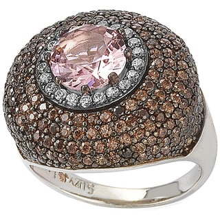 Suzy Levian Sterling Silver Pink and Brown Cubic Zirconia Halo Pave Ring