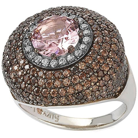 Suzy L. Sterling Silver Pink and Brown Cubic Zirconia Halo Pave Ring