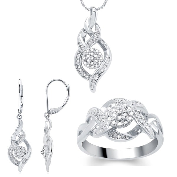 Divina Fashion 1/ 10ct TDW Diamond 3-piece Jewelry Set