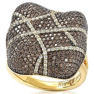 Suzy Levian Gold Plated Sterling Silver Brown Cubic Zirconia Crossover Micro Pave Cushion Anniversary Ring