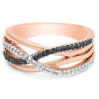 Dolce Giavonna Rose Gold Overlay Cubic Zirconia Infinity Ring