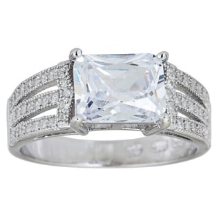 Decadence Sterling Silver Micropave Radiant-cut Cubic Zirconia 3-strand Ring