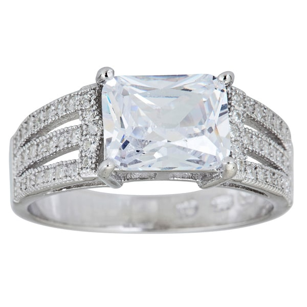 Shop Decadence Sterling Silver Micropave Radiant-cut Cubic Zirconia ...
