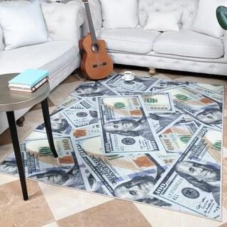 """Ottomanson Siesta Collection 100 Dollar Bill Design Runner Rug - 22"""" x 53"""""""