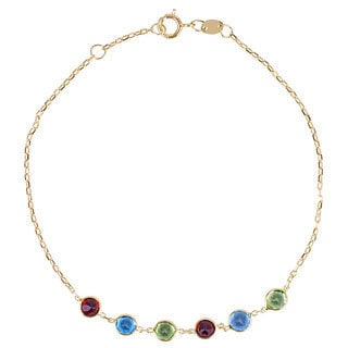 14k Yellow Gold 6-stone Gemstone Bracelet