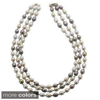 Pearls For You 14k Yellow Gold Three-strand Multi-color Freshwater Pearl Necklace (7-7.5 mm)