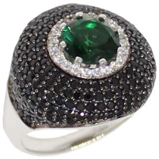 Suzy L. Sterling Silver Green and Black Cubic Zirconia Micro Pave Ring