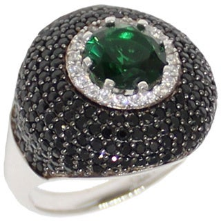 Suzy Levian Sterling Silver Green and Black Cubic Zirconia Micro Pave Ring